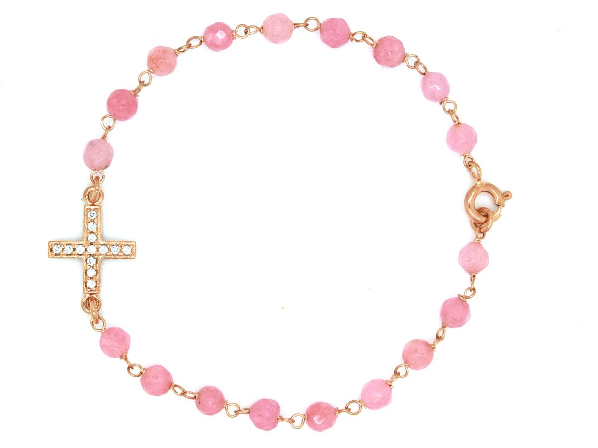 Super Bracciale croce con pietre rosa , ARGENTO - Vendita online  US12