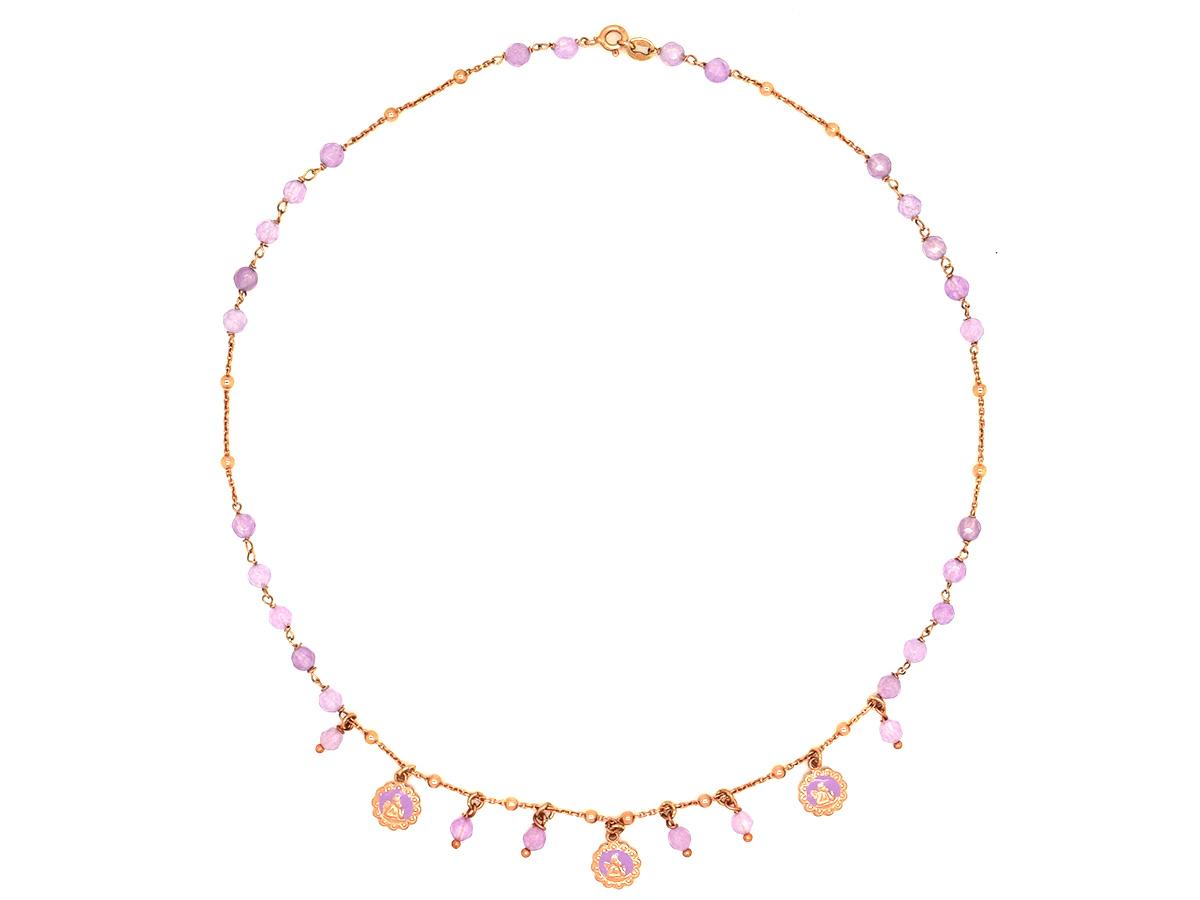 Super Collana rosario con pietre rosa , ARGENTO - Vendita online  JD67