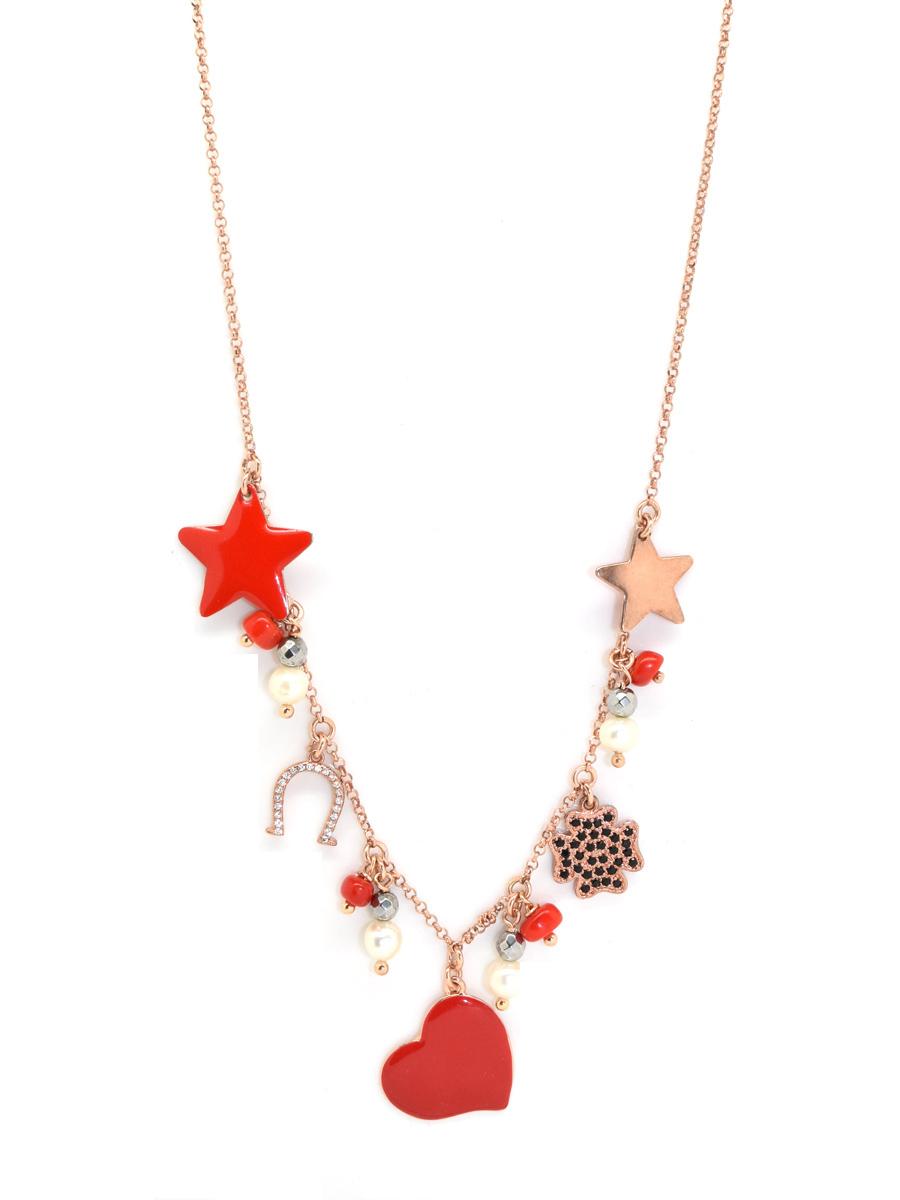 Bien-aimé collana in argento con pendenti stelle cuori quadrifoglio ferro di  FP66