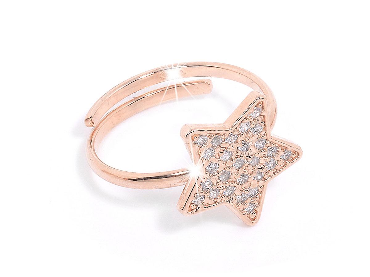 Amato Anello in argento a forma di stella con pietre naturali bianche  KM96
