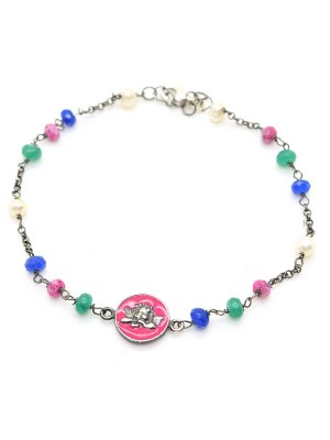 Bracciale in argento brunito con pietre colorate e pendente smaltato rosa con angelo putto