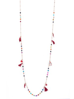 Collana in argento rosa lunga di 90cm con pietre colorate e pendenti portafortuna