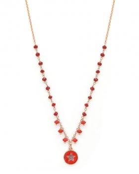 Collana in argento color rosa con pietre naturali rosse e pendente a stella con smalto rosso