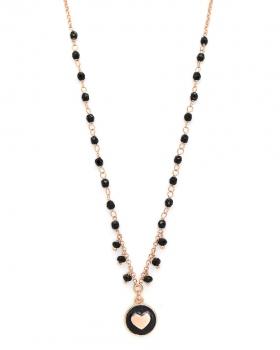 Collana in argento rosa con pietre naturali nere e pendente a cuore con smalto nero