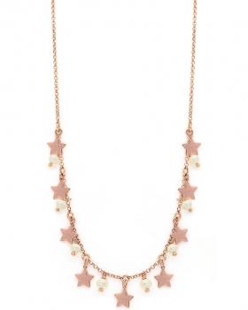 Collana in argento rosa con pendenti a stella e perle