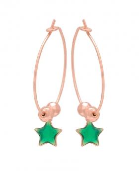 Orecchini in argento rosa con pendente a forma di stella con smalto verde