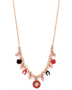 Collana in argento rosa con pendenti portafortuna smaltati con quadrifoglio ferro di cavallo
