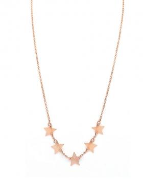 Collana in argento color rosa con pendenti a forma di stella