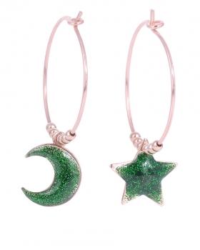 Orecchini in argento con stella e luna smalto verde e glitter