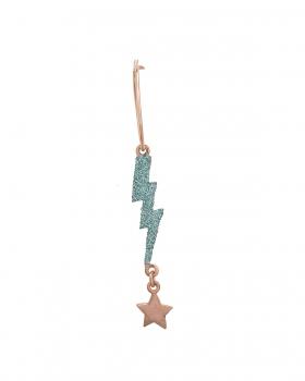 Orecchino singolo con pendenti fulmine e stella glitter celeste