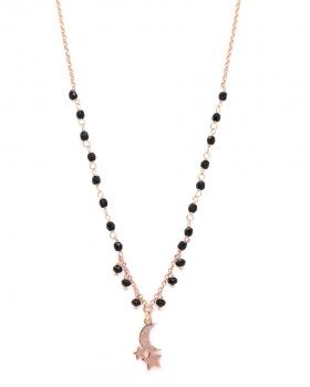Collana in argento rosa con pietre nere e pendente luna e stelle