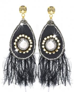 orecchini in metallo giallo con pendente in pelle nera e piume di lana nera