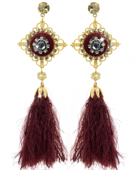 Orecchini con bottoni rivestiti di velluto rosso e piume di lana