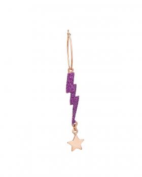 Orecchino singolo con pendenti fulmine e stella glitter viola