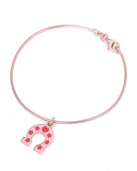 Bracciale in argento rosa con ferro di cavallo smaltato