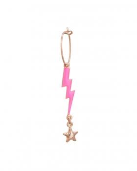 Orecchino singolo con pendenti fulmine e stella smalto rosa