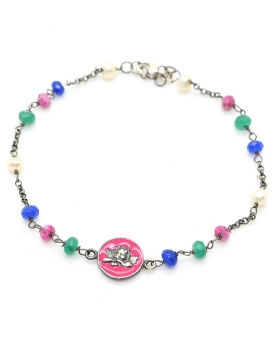 Bracciale in argento brunito con pietre colorate e pendente smaltato rosa con angelo