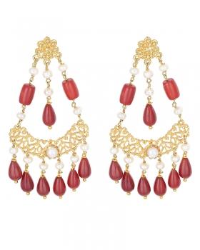 Orecchini a forma di (da inserire) color oro con Perle e Corallo Rosso