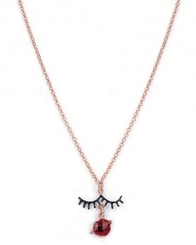 Collana in argento rosa con pendente bocca e ciglia