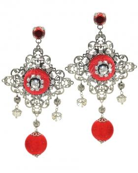 Orecchini filigrana brunita con bottoni di velluto, nappe rosse e pietre naturali