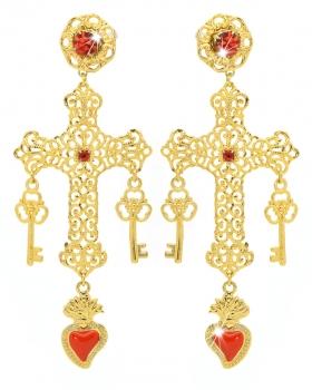 Orecchini filigrana con pendente a forma di croce con smalto e pietre rosse