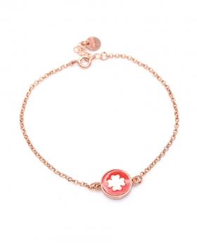 Bracciale in argento color rosa con pendente quadrifoglio smaltato rosso