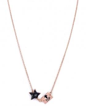 Collana in argento rosa con pendente stella e top