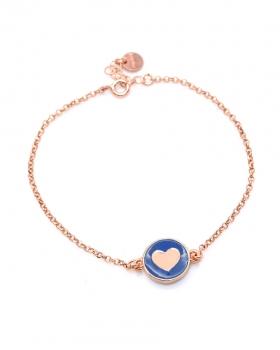Bracciale in argento color rosa con pendente cuore smaltato blu