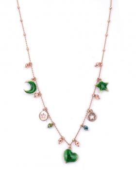 Collana in argento rosa con pendenti luna cuore e stelle con smalto
