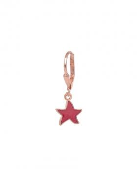 Orecchino singolo on argento rosa con pendente a forma di stella smaltata lilla