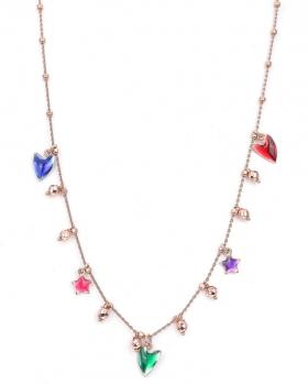 Collana in argento rosa con cuori smaltati e pendenti