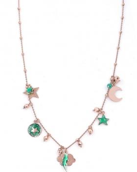Collana in argento rosa con pendenti smaltati verde con fulmini e stelle