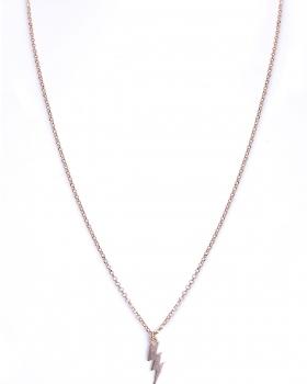 Collana in argento rosa girocollo con pendente fulmine