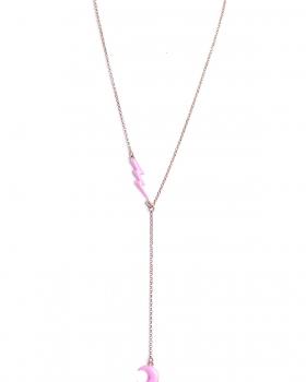 Collana in argento rosa lunga con pendenti fulmine e luna smalto rosa