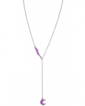 Collana in argento rosa lunga con pendenti fulmine e luna smalto viola