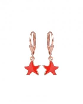 Orecchini argento rosa con pendente a forma di stella smaltata rossa
