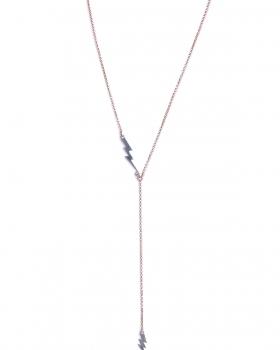 Collana in argento rosa lunga con pendenti fulmine