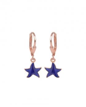 Orecchini argento rosa con pendente a forma di stella smaltata blu
