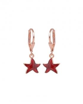 Orecchini argento rosa con pendente a forma di stella smaltata bordeaux