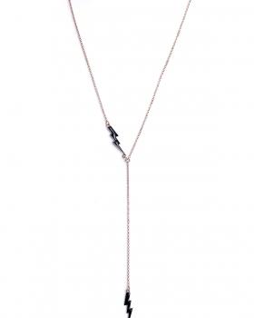 Collana in argento rosa lunga con pendenti fulmine smalto nero