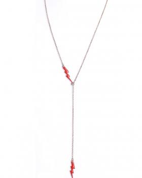 Collana in argento rosa lunga con pendenti fulmine smalto rosso