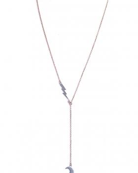 Collana in argento rosa lunga con pendenti fulmine e luna