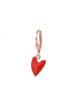 Orecchino singolo in argento rosa con pendente a forma di cuore allungato