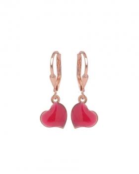 Orecchini in argento rosa con pendente a forma di cuore con vari colori