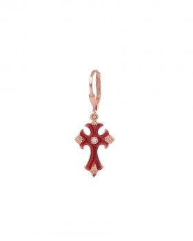 Mono Orecchino in argento rosa con pendente a forma di croce in vari colori