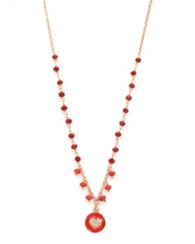 Collana in argento rosa con pietre naturali rosse e pendente cuore con smalto rosso