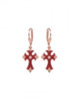Orecchini in argento rosa con pendente a forma di croce in vari colori rosa, bordeaux, verde e viola