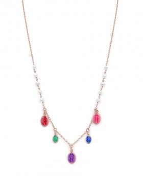 Collana in argento con perle di acqua dolce e pendenti con madonnina smaltate