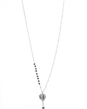 Collana in argento da 80cm con pendente a forma di mongolfiera smaltata di nero