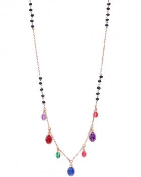 Collana in argento rosa con pietre naturali nere e pendenti a forma di madonnina smaltati